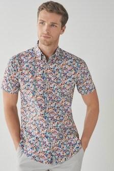 Multicoloured Floral Regular Fit Short Sleeve Trimmed Shirt