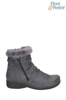 Fleet & Foster Grey Aurora Zip Boots