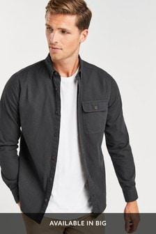 Charcoal Regular Fit Ripstop Overdye Shirt