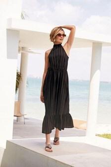 Bronze Stripe Linen Blend Halterneck Dress