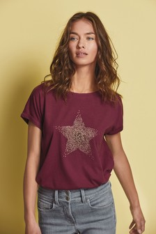 Embellished Star Berry Curved Hem T-Shirt