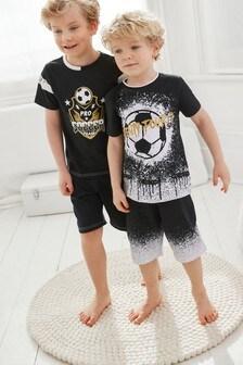 Black/Gold Football 2 Pack Short Pyjamas (1.5-16yrs)