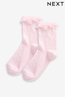 Pink 2 Pack Ruffle Socks
