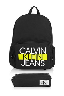 Calvin Klein Jeans Kids Black Logo Backpack