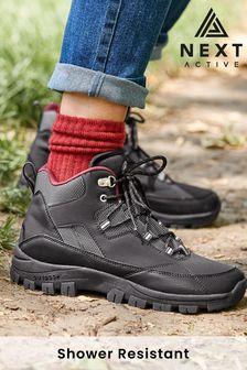 Black Regular/Wide Fit Shower Resistant Colour Pop Hiker Boots