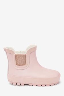 Pink Warm Lined Chelsea Boot Wellies (Younger)