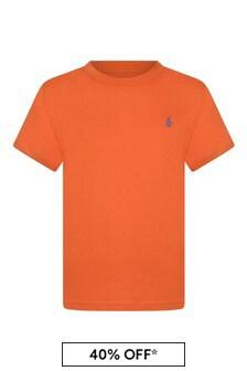 Boys Orange Cotton Jersey T-Shirt