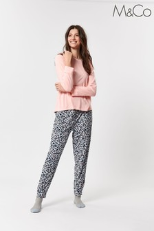 M&Co Grey Fleece Animal Print Heart Pyjama Set