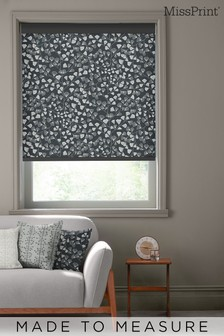 Fern Night Frost Black Made To Measure Roller Blind by MissPrint