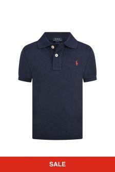 Boys Navy Custom Fit Polo Top