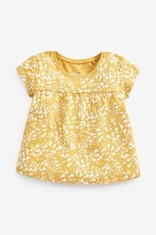 Ochre Floral Print GOTS Organic Cotton T-Shirt (3mths-7yrs)