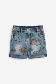 Floral Print Denim Shorts (3-16yrs)