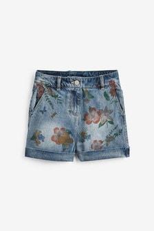 Floral Print Denim Shorts (3-16yrs)
