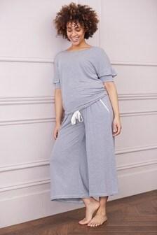 Navy Stripe Maternity Modal Lace Trim Pyjamas