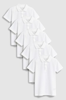 White 5 Pack Cotton Poloshirts (3-16yrs)