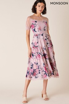Monsoon Nude Millicent Floral Print And Lace Dress