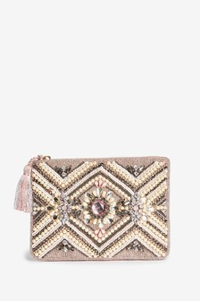 Pink/Cream Beaded Zip Top Clutch Bag