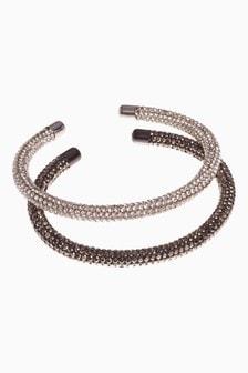 Silver/Gunmetal Sparkle Tube Bracelets Two Pack
