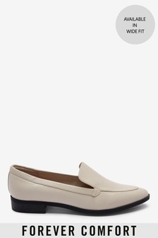 White Almond Toe Loafers
