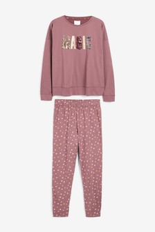 Berry Slogan Printed Cotton Pyjamas
