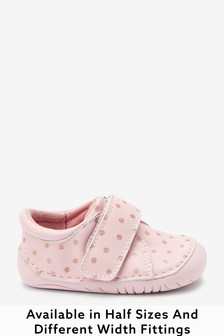 Pink Leather Standard Fit (F) Crawler Shoes