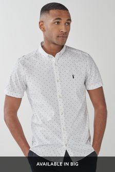 White Slim Fit Print Slim Fit Short Sleeve Stretch Oxford Shirt