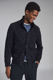 Reiss Blue Angel Suede Button Though Jacket