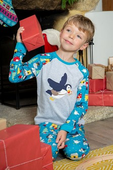 Frugi GOTS Organic Kids Puffin Post Christmas Pyjamas