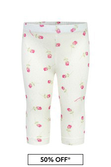 Baby Girls Cream Cotton Girls Leggings