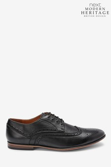 Black Derby Leather Brogue Shoes