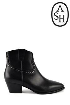 Ash Huston Black Leather Stud Boots