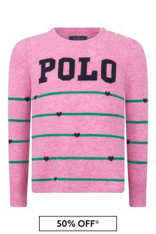 Girls Pink Striped Merino Wool Polo Sweater