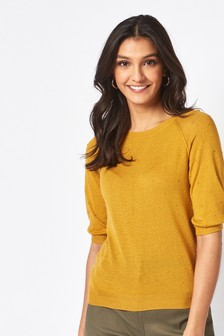 Ochre Textured Bobble Jumper