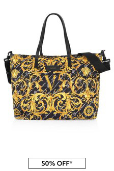 Black & Gold Baroque Baby Changing Bag (Width 46 cm)