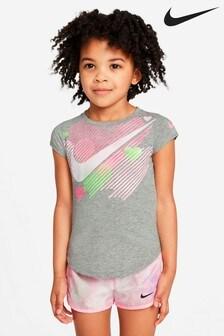 Nike Little Kids Grey Heart Graphic T-Shirt