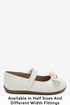 White Wide Fit (G) Bow Mary Jane Shoes