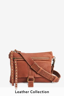 Tan Leather Stud Across Body Bag
