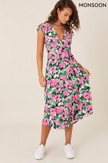 Monsoon Pink Floral Wrap Dress