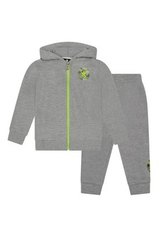 Baby Boys Grey Heather Cotton Tracksuit