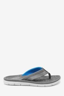 Grey Sport Toe Post Flip Flops