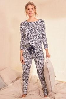 Blue Floral Cotton Pyjamas