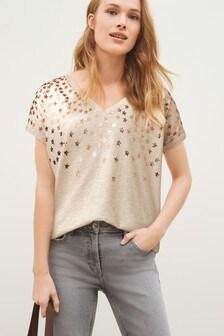 Oatmeal Foil Star V-neck Curved Hem T-Shirt