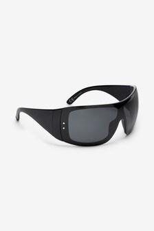 Black Polarised Ski Visor Sunglasses
