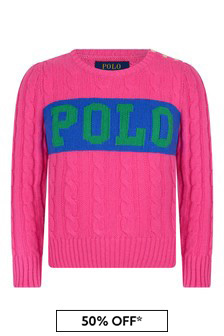Girls Pink Cotton & Wool Blend Polo Sweater