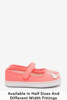 Fluro Pink Rainbow Wide Fit (G) Canvas Mary Jane Shoes (Younger)