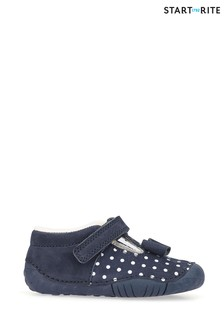 Start-Rite Wiggle Navy Polka Dot Leather Prewalker Shoes