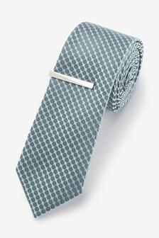 Sage Geometric Tie With Tie Clip