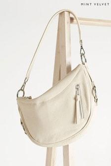 Mint Velvet Cream Cecelia Egg Shell Leather Bag