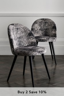 Opulent Velvet Leopard Set of 2 Zola Dining Chairs With Black Legs