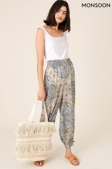 Monsoon Blue Mariam Printed Balloon Trousers